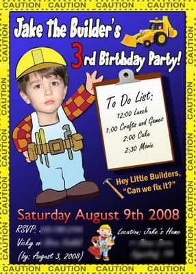 Jake's Bob the Builder Birthday Card
